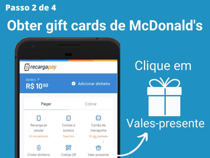Passo 2 de 4 para Obter gift cards de McDonald's