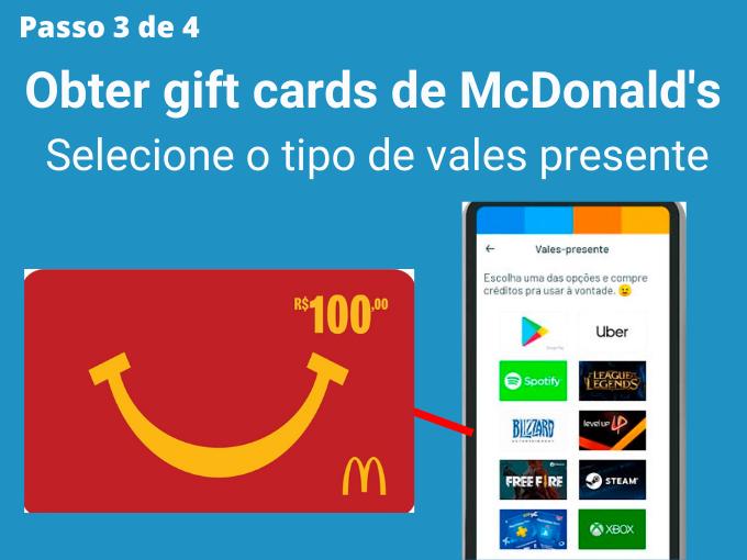 Passo 3 de 4 para Obter gift cards de McDonald's