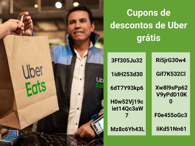 12 cupons de descontos de Uber eats grátis