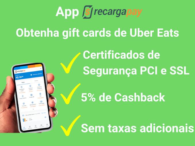 Obter gift cards de Uber Eats