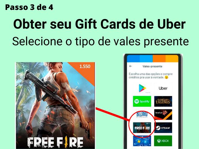 Passo 3 de 4 para Obter gift cards de Free Fire