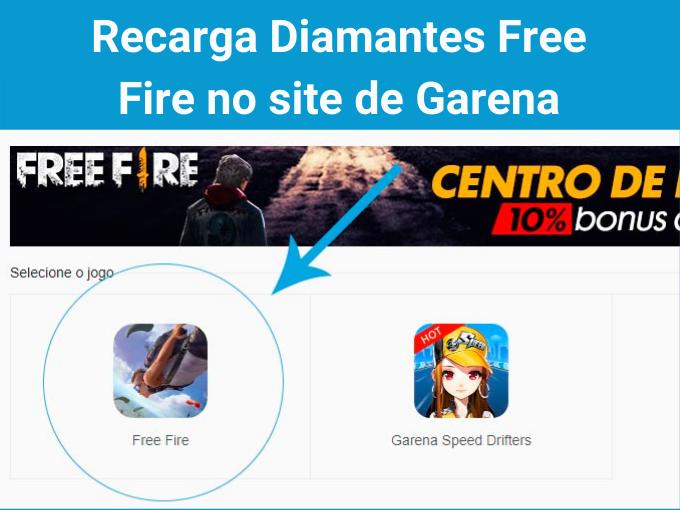 Recarga Diamantes Free Fire no site de Garena